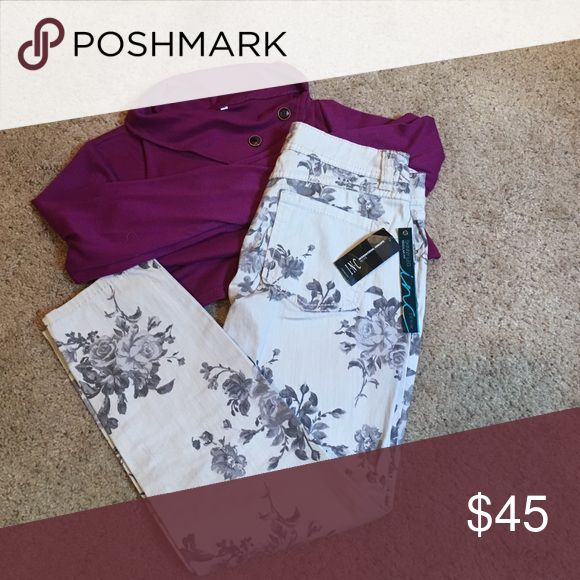 🌹NWT 🌹Macy's INC Floral skinny jeans These jeans are absolutely adorable and unique. NWT - accepts all offers 😊 INC International Concepts Jeans Skinny