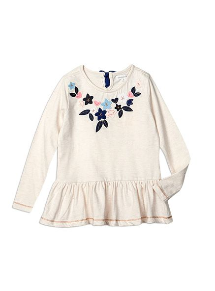 Pumpkin Patch - tops - floral applique top - W5GL12018 - oat marle - 5 to 12