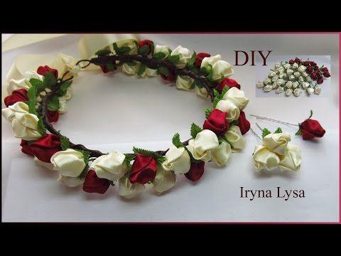 Віночок, шпильки з бутонів троянд/Веночек+шпильки из бутонов роз канзаши/ DIY Kanzashi roses#28 - YouTube