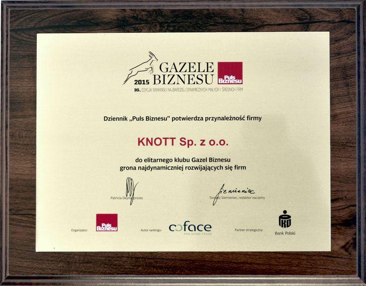 """Miło nam poinformować, że nasza firma, KNOTT sp. z o.o., została wybrana do elitarnego grona przedsiębiorstw należących do prestiżowego klubu """"Gazele Biznesu"""" 2015."""