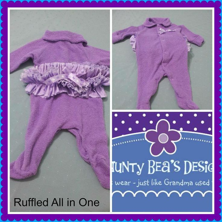 Handmade by Aunty Bea's Designs  Ruffled all in one, made from 100% cotton terry towelling. Ruffles are on the backside of the all in one.