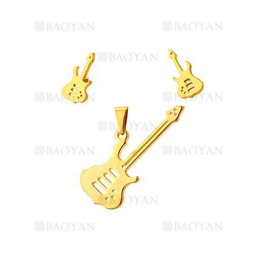 juego colgante y aretes de guitarra dorado acero inoxidable -SSSTG954241
