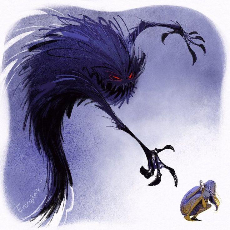 Artist illustrates fear as a misunderstood monster that