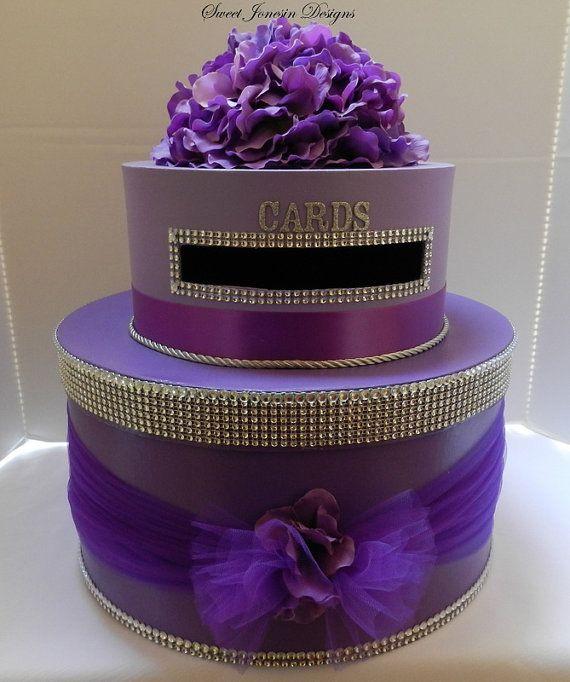 Lavender & Purple Wedding Card Box Diamond Mesh Ombre Wedding Card Box