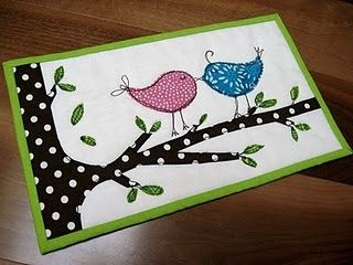 Mug Rug. These birds are just TOO cute!