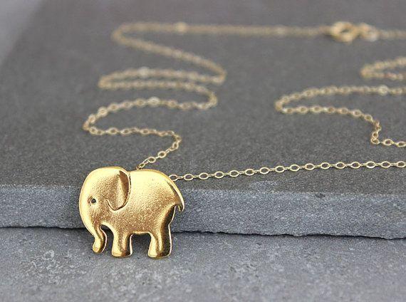 Gold elephant pendant elephant necklace teens necklace elephant jewelry elephant charm necklace on Etsy, 152.03₪