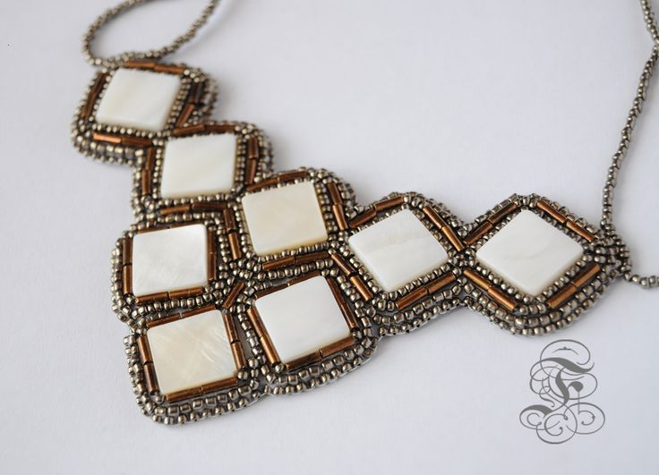 'Bronze Shell' bead embroidered necklace