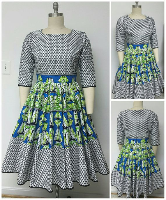 African Print Fit and Fit Gored Dress. Inside Pockets. Petticoat. Sleeves. Fully Lined. Womens Clothing. Handmade. Ankara.