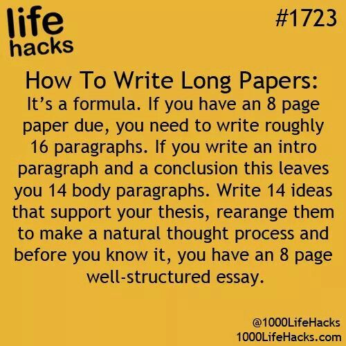 How to write long papers for school