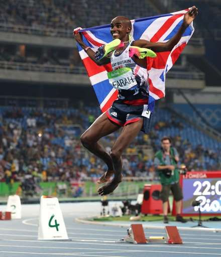 2nd straight Olympic double puts Farah among the greats:  August 20, 2016  -    Britain's Mo farah celebrates winning the men's 5000-meter during athletics competitions at the Summer Olympics inside Olympic stadium in Rio de Janeiro, Brazil, Saturday, Aug. 20, 2016. (AP Photo/Lee Jin-man)