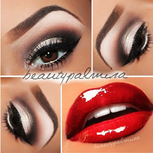 Stunning eye make up with a glossy red lip. that brow is perfection.