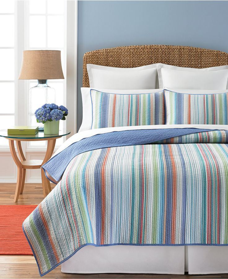 A Restful Blue Bedroom Can Still Have Touch Of Color Added When You Combine This Martha Stewart Collection Chatam Stripe Full Queen Quilt With Pop
