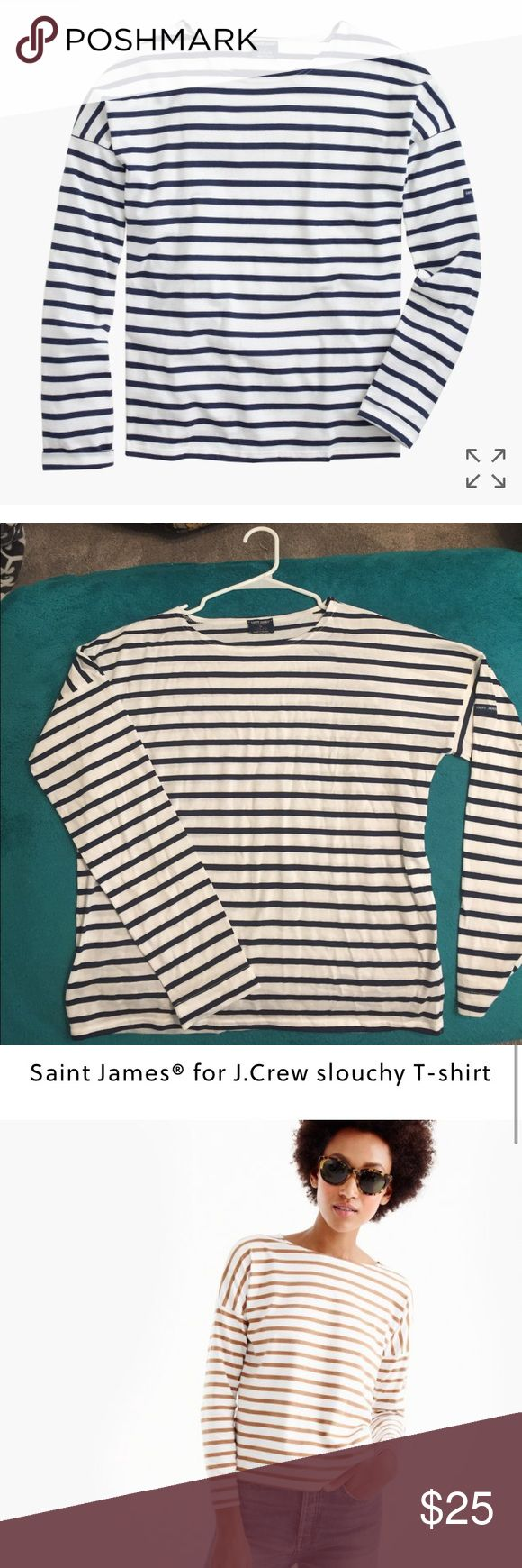 Saint James for J.Crew slouchy T-shirt New no tags.                                                             PRODUCT DETAILS Saint James has been spinning some of the world's finest knits out of its Normandy-based factory since 1889 and has become famous for its Breton shirt, a nautical-inspired style featuring classic stripes. Designed exclusively for us, this airy cotton version features a roomy body and slimmer sleeves.  Cotton. Machine wash. Made in France. Item A1931. J. Crew Tops…