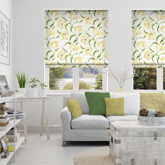 Dancing Tulips Green Roman Blind