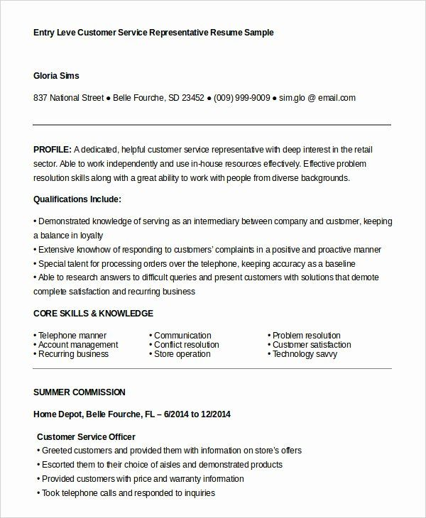 Entry Level Customer Service Resume Inspirational Customer Service Representative Customer Service Resume Retail Resume Examples Customer Service Cover Letter