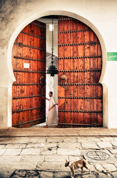 Opening the door to the Mosque, Fez, Morocco.  Taken by Yosuke Kobayashi
