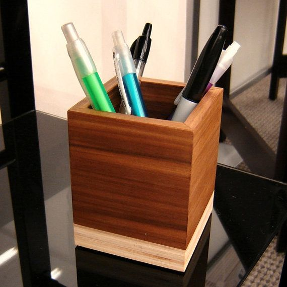 Wooden Pencil Cup Office Decor From Reclaimed By Andrewsreclaimed, $25.00 Photo