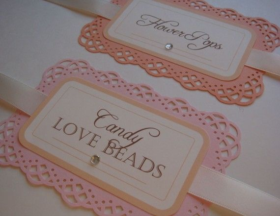 Cute lacy labels for candy buffet
