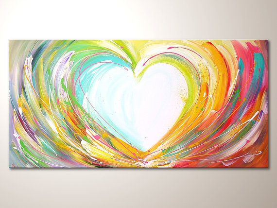 """Original modern art painting """"Happy love"""" , abstract contemporary artwork, wall decoration,acrylics,heart,colorful"""