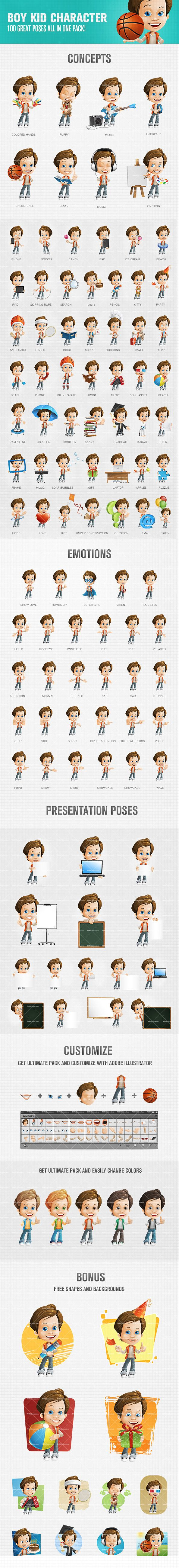Boy kid cartoon character created in a large amount of postures. Our cartoon kid is the perfect way to liven up your artworks. It will surely make your projects look fresh and animated. Go on, take a look at our cute kid here and pick up a suitable size-pack.<br /> Continue reading →