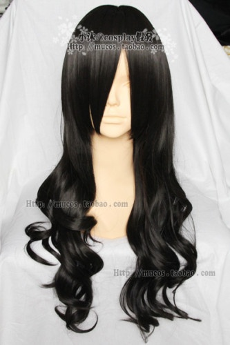 Maid Cosplay Long Black Curly Wig | eBay