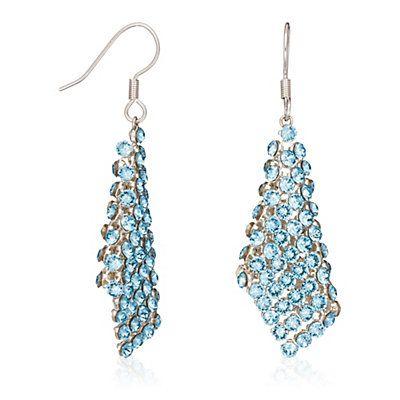 BO Crazy night, métal col. argenté et cristaux SWAROVSKI® ELEMENTS bleus  L : 4 cm