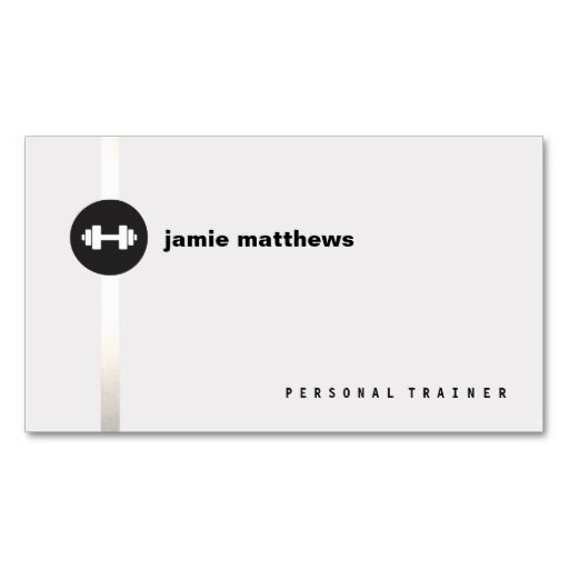 Personal Trainer Dumbbell Logo Fitness Instructor Business Card Templates
