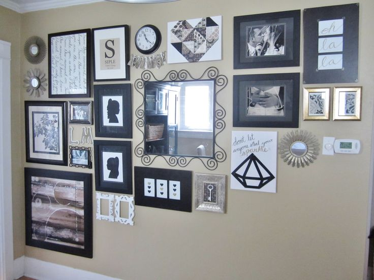 Large scale eclectic gallery wall mirrors frames store bought and diy artwork the elm life - Eclectic picture frame wall ...