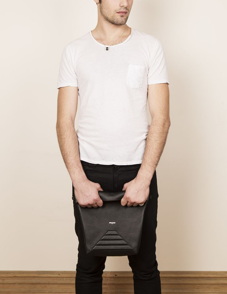 Model with our leather clutch bag ABEL. www.jeromebocchio.com