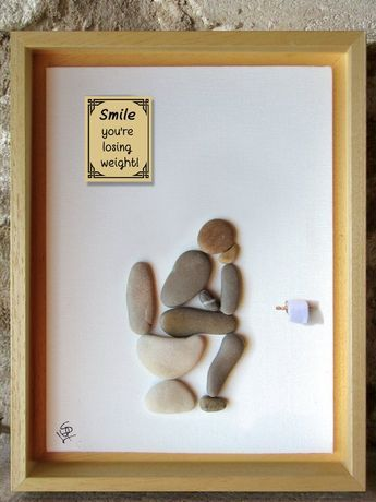 Pebble Art – Thinker on the loo with funny bathroom quotes – Rude art – Funny art – Home Décor Gift – Handmade in France – 25x25cm/10x10in