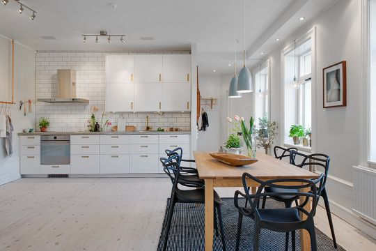 scandinavian_kitchen_wood dining table ✚ fancy concrete countertop with smeg induction cooktop