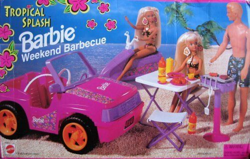 """Barbie Tropical Splash WEEKEND BARBECUE Playset w """"JEEP"""" & More! (1995 Arcotoys, Mattel) by Arcotoys, Mattel. $289.99"""
