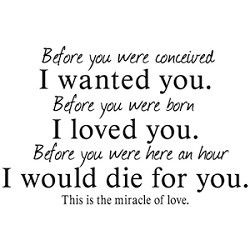 """ღ """"Before you were conceived, I wanted you. Before you were born, I loved you. Before you were here an hour, I would die for you. This is the miracle of love."""" — Unknown Author"""