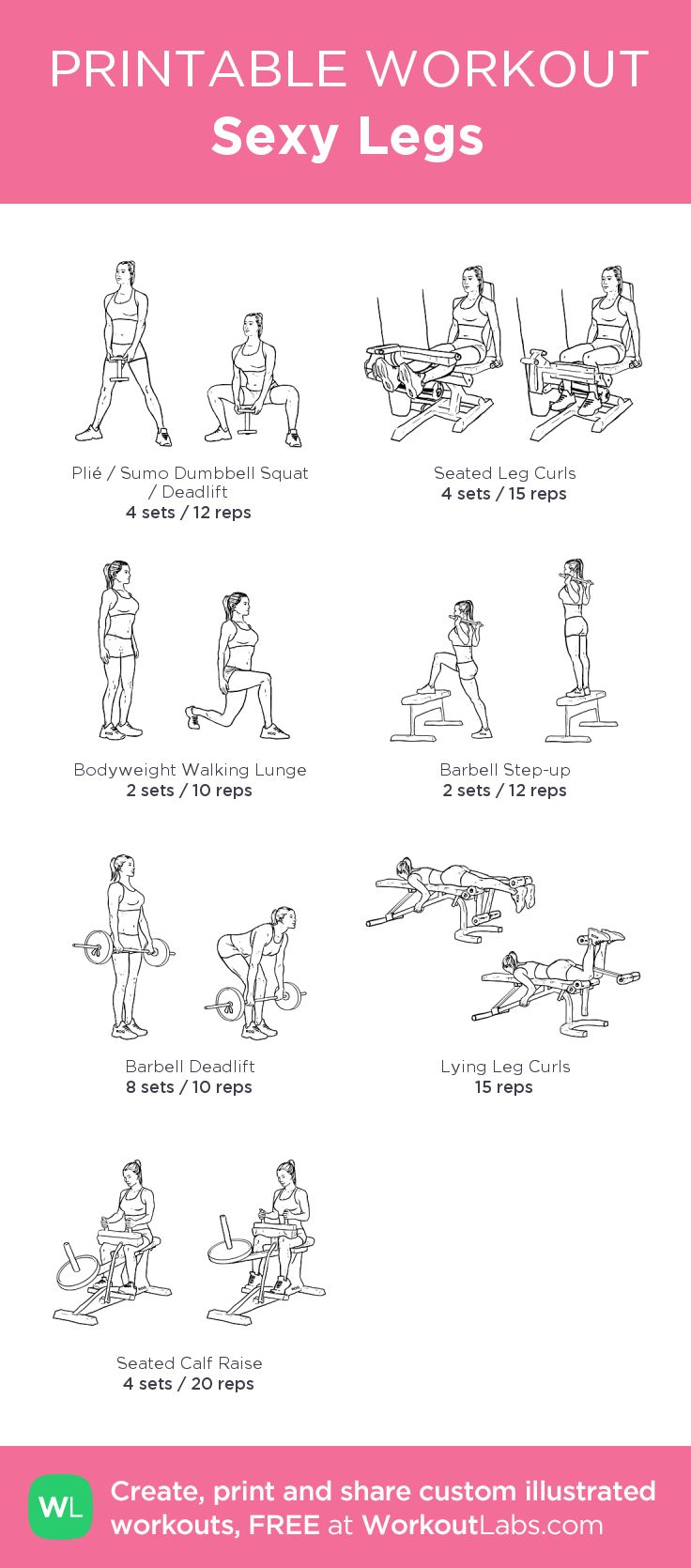 Sexy Legs:my custom printable workout by @WorkoutLabs #workoutlabs #customworkout