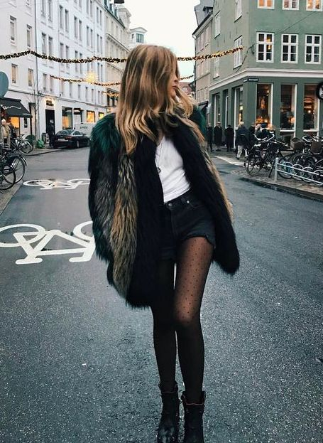 fur coats + polka dot stockings