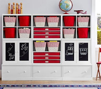 Cameron Storage System With Chalk Cabinets #pbkids