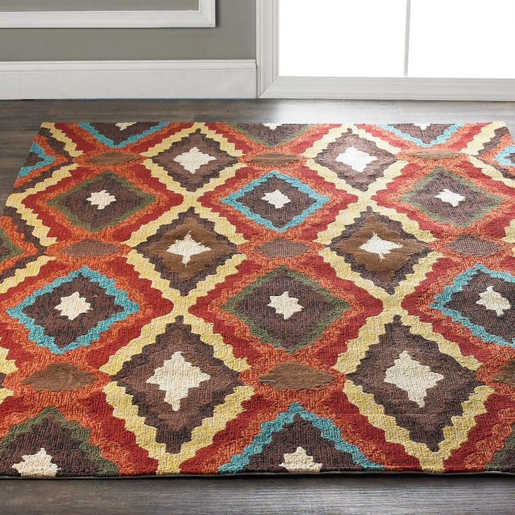 Coral And Turquoise Outdoor Rug: Southwest Ikat Diamonds Indoor Outdoor Rug