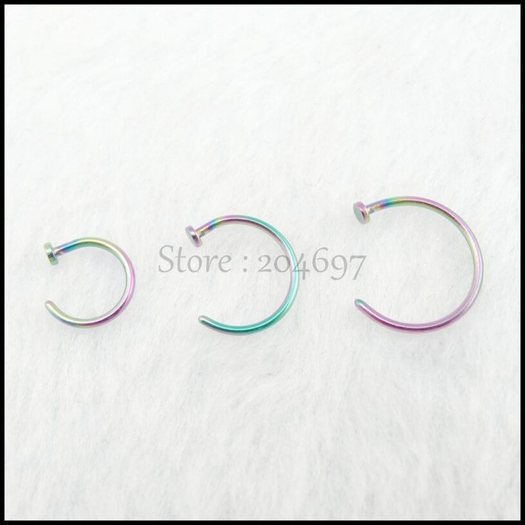 Wholesale 100pcs 6mm 8mm 10mm Rainbow Titanium Anodized Stainless Steel Body Jewelry Hoop Nose Ring Nose Stud Nose Piercing