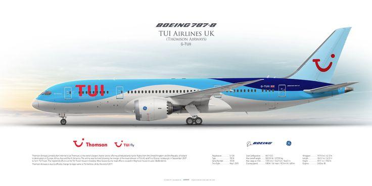Boeing 787-8 TUI Airlines UK (Thomson Airways) G-TUII | Airliner Profile Art Prints www.aviaposter.com #airliners #aviation #jetliner #airplane #pilot #aviationlovers #avgeek #jet #sideplane #airport #b787 #dreamliner