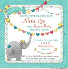 Welcome Little Elephant Baby Shower Invitations (Any Colors)