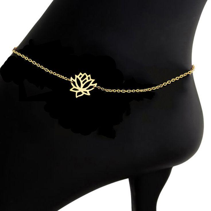GORGEOUS TALE Summer Style Beach Foot Jewelry 2017 Charm Lotus Bracelets Women Gold Color Leg Chain Foot Bracelet Fashion Bijoux //Price: $US $1.52 & FREE Shipping //     #hashtag3