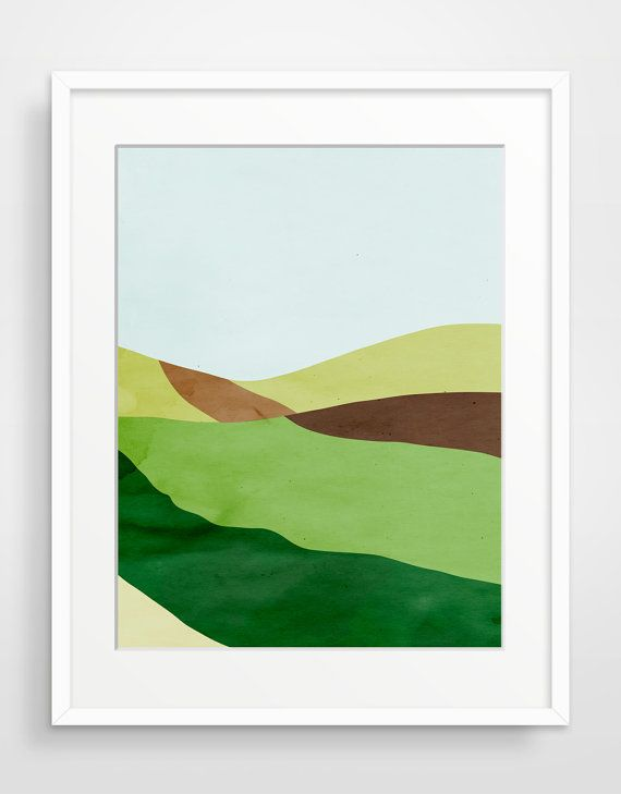 Green Abstract Landscape Giclee Art Print, Large Wall Art, Minimal  Landscape Art, Abstract Part 49