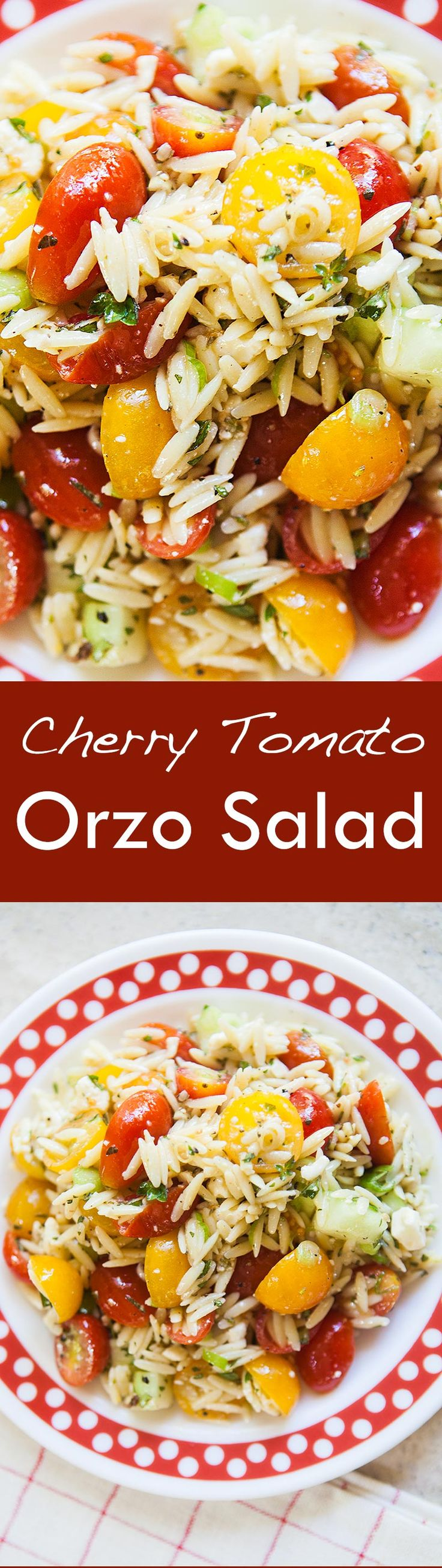 Quick and easy Cherry Tomato Orzo Salad, perfect for a picnic or a hot ...
