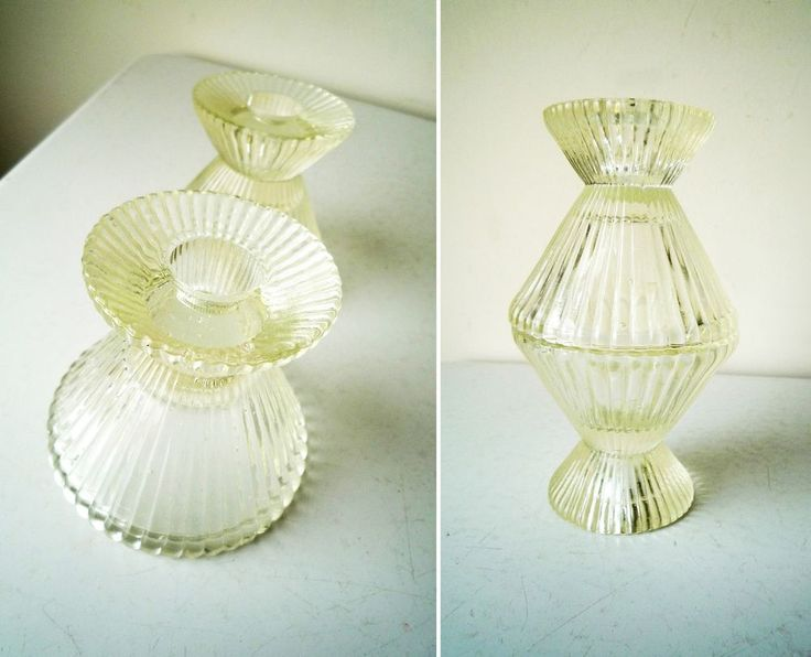 Midcentury Modern Glass Candle Holders Pair of 2 Multi Size Glass Candle Holders #midcentury #midcenturyModern #glassCandleHolders #candleHolders #vintageDecor #valentinesDayGift