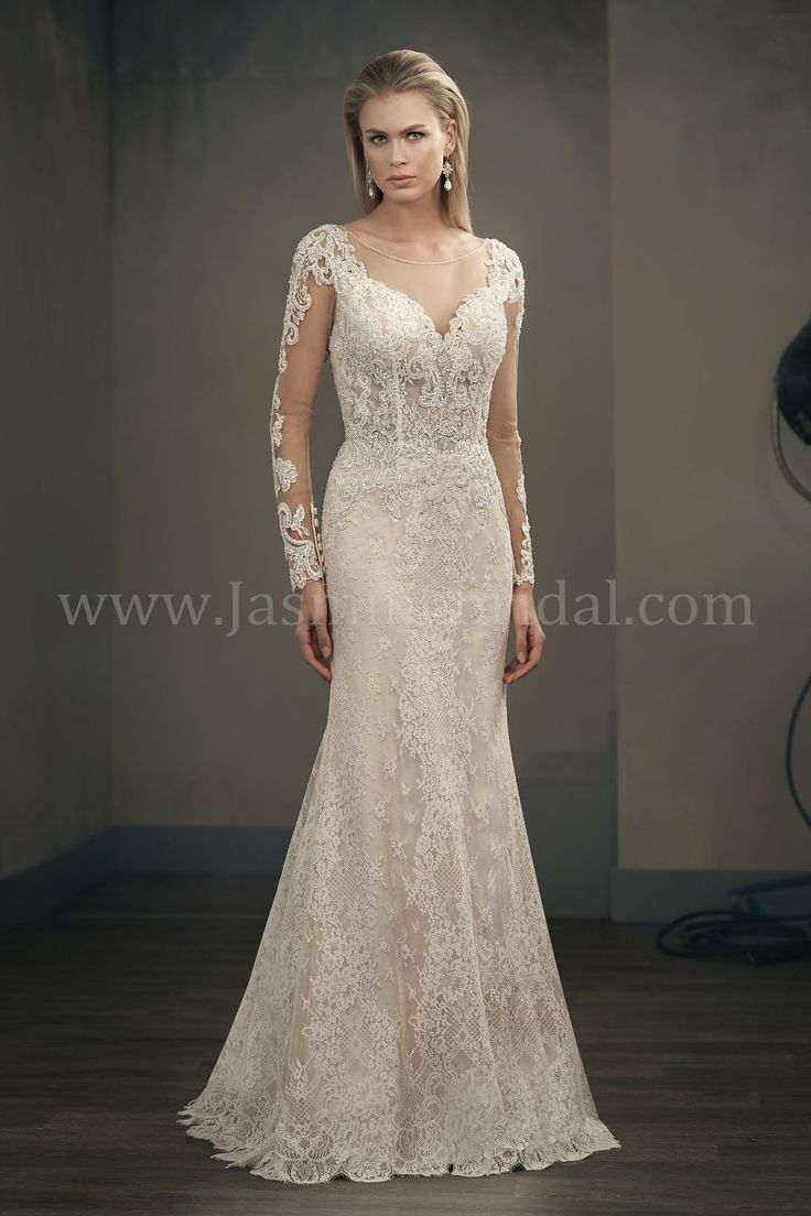 Jasmine Couture Illusion Sleeves Neckline Long Sleeve Wedding Dress Lace