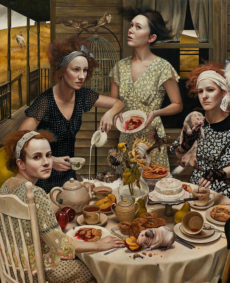 """An Invitation"" - Andrea Kowch, acrylic on canvas {contemporary figurative fantasy realism artist outdoors females desert pies cake table messy spills women rodents animals cropped detail painting} Dazed !! andreakowch.com"