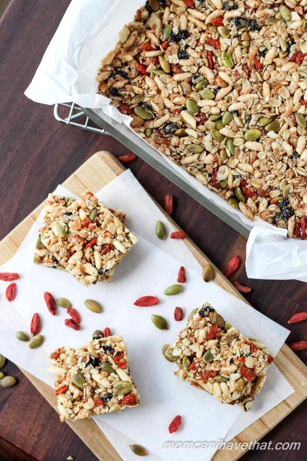 Gluten-free oats, nuts, & seeds make the base for these lightly - sweetened Kitchen Sink Snack Bars healthy - currents, puffed rice & gogi berries make them fun.| gluten-free, dairy-free |
