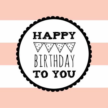 Roze gestreept verjaardagskaartje met tekstcirkel en vlaggetjes, verkrijgbaar bij #kaartje2go voor € 1,79
