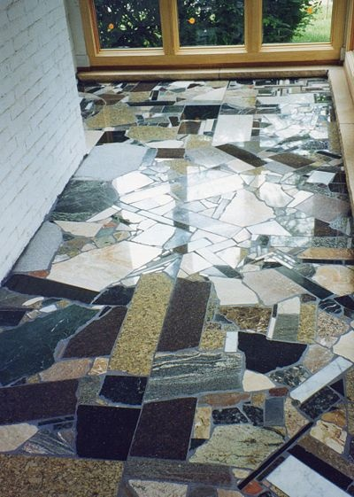 How to Make Tile Floors from Scrap Materials....really like this idea & would save money to using scrap pieces