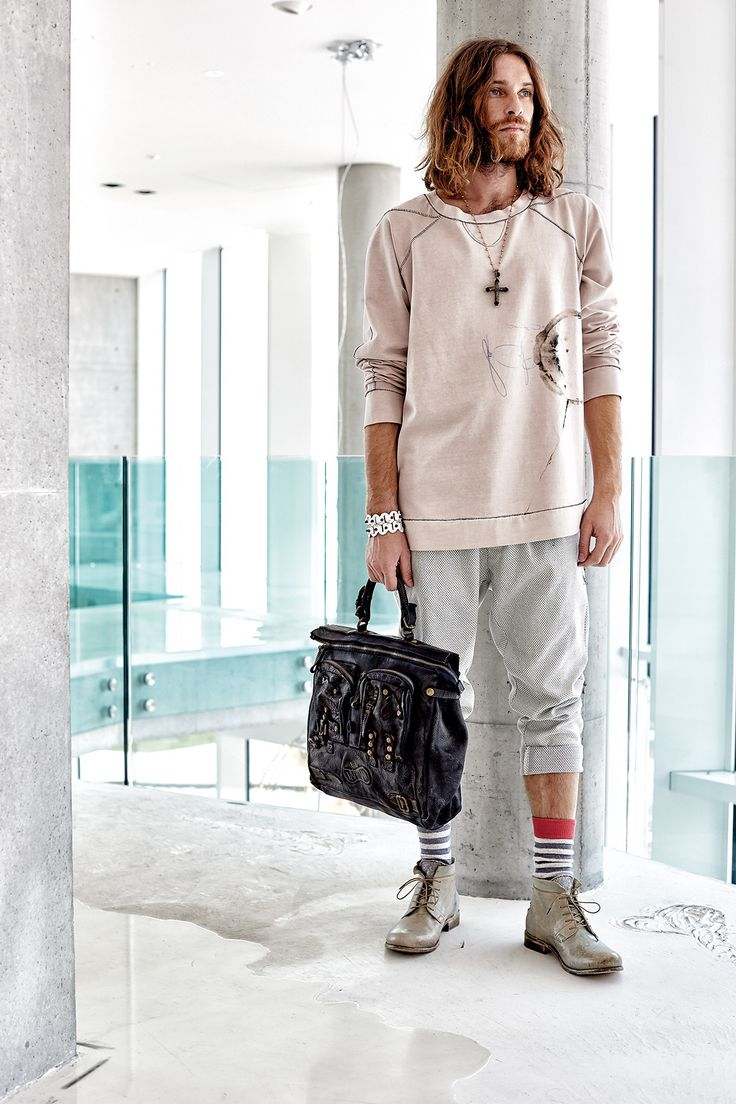 #danieladallavalle #mancollection #riccardocavaletti #ss16 #sweatshirt #beige #print #black #white #bracelets #leather #handbag #black #grey #pants #shoes #stripes #socks #blackandwhite #red #cross #necklaces #jewellery
